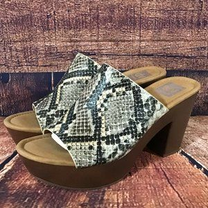 DV Dolce Vita Henna Womens Size 8 Snake Print Platform Clog Sandals